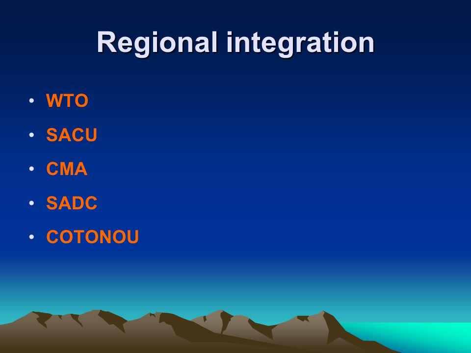 Regional integration WTO SACU CMA SADC COTONOU