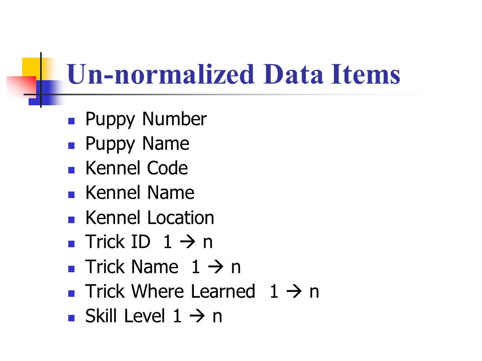 Un-normalized Data Items Puppy Number Puppy Name Kennel Code Kennel Name Kennel Location Trick ID 1  n Trick Name 1  n Trick Where Learned 1  n Ski