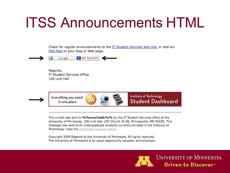 ITSS Announcements HTML