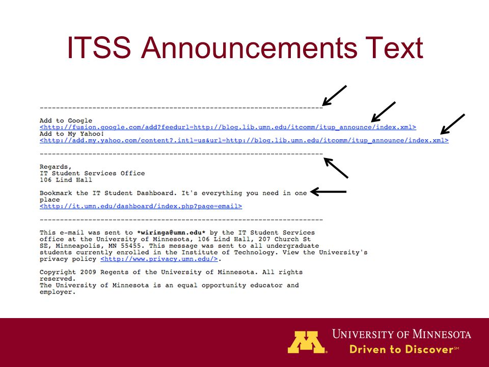 ITSS Announcements Text