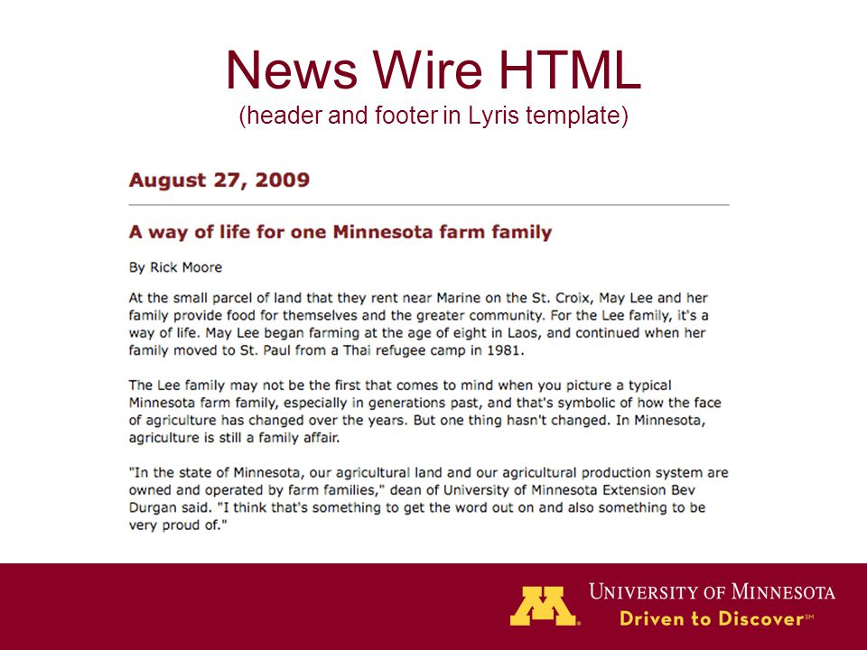 News Wire HTML (header and footer in Lyris template)