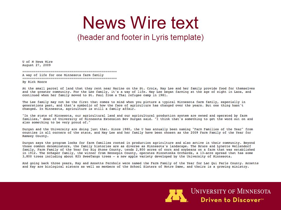 News Wire text (header and footer in Lyris template)