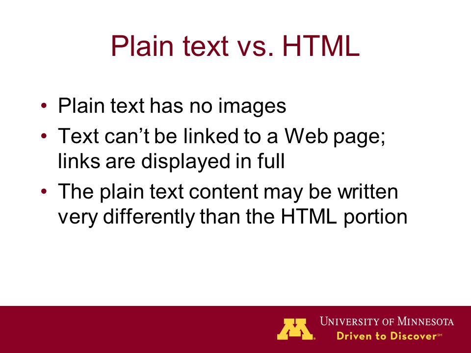 Plain text vs.