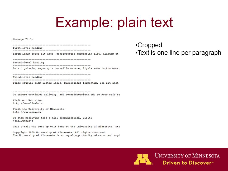 Example: plain text Cropped Text is one line per paragraph