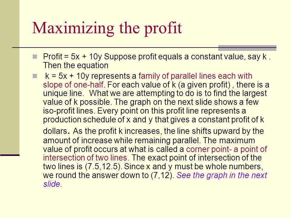 Maximizing the profit Profit = 5x + 10y Suppose profit equals a constant value, say k.
