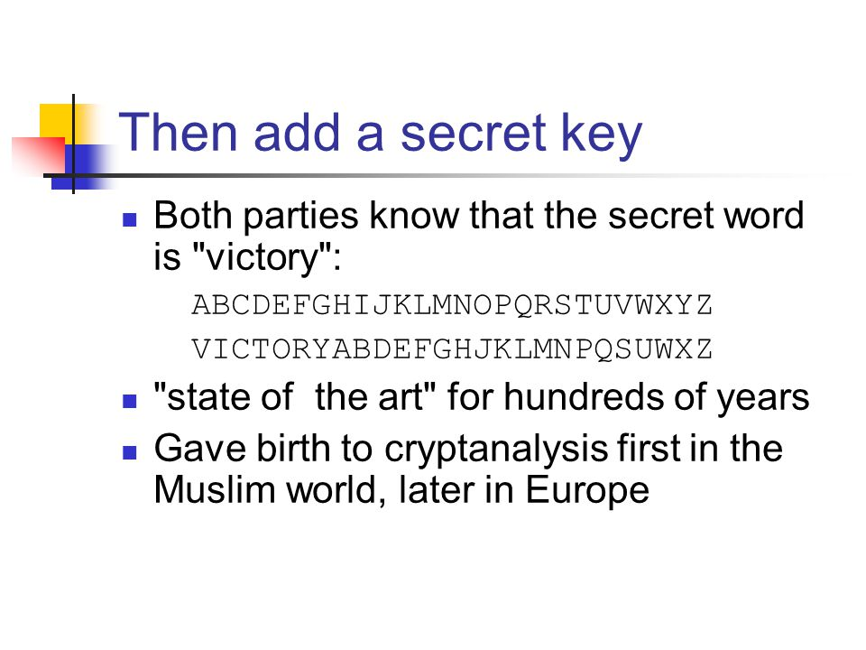 Then add a secret key Both parties know that the secret word is victory : ABCDEFGHIJKLMNOPQRSTUVWXYZ VICTORYABDEFGHJKLMNPQSUWXZ state of the art for hundreds of years Gave birth to cryptanalysis first in the Muslim world, later in Europe