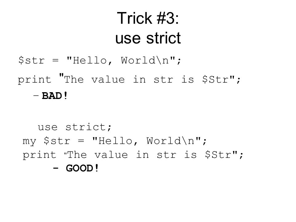 Trick #14: Use Regular Expression Memory my %switches; open INFILE, trick12.txt or croak failed to open trick12.txt for read ; while(my $str = ) { $str=~ /^\d\d\d-(\d\d\d)-\d\d\d\d/; my $switch = $1; if (!defined($switches{$switch})) { $switches{$switch} = 0; } $switches{$switch}++; print $switch\n ; }