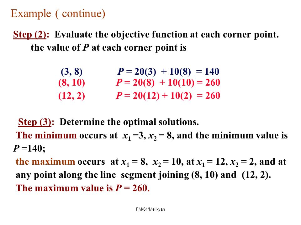 Example ( continue) Step (2): Evaluate the objective function at each corner point. the value of P at each corner point is (3, 8) P = 20(3) + 10(8) =