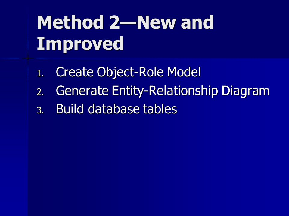Method 2—New and Improved 1. Create Object-Role Model 2. Generate Entity-Relationship Diagram 3. Build database tables