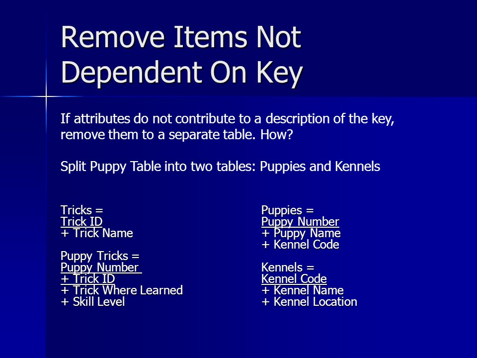 Remove Items Not Dependent On Key Tricks = Trick ID + Trick Name Puppy Tricks = Puppy Number + Trick ID + Trick Where Learned + Skill Level Puppies = Puppy Number + Puppy Name + Kennel Code Kennels = Kennel Code + Kennel Name + Kennel Location If attributes do not contribute to a description of the key, remove them to a separate table.