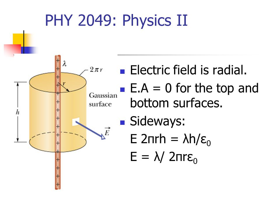 PHY 2049: Physics II Electric field is radial. E.A = 0 for the top and bottom surfaces.