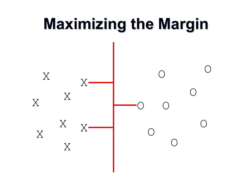 Maximizing the Margin X X O O O O O O X X X X X X O O