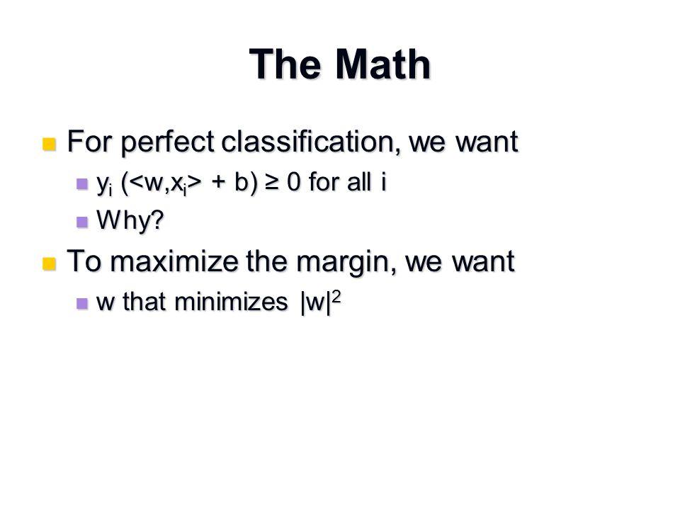 Dual Optimization Problem Maximize over  Maximize over  W(  ) =  i  i - 1/2  i,j  i  j y i y j W(  ) =  i  i - 1/2  i,j  i  j y i y j Subject to Subject to  i  0  i  0  i  i y i = 0  i  i y i = 0 Decision function Decision function f(x) = sign(  i  i y i + b) f(x) = sign(  i  i y i + b)