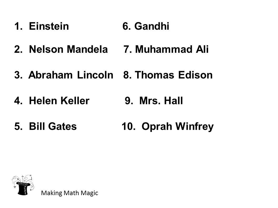 1. Einstein 6. Gandhi 2. Nelson Mandela 7. Muhammad Ali 3. Abraham Lincoln 8. Thomas Edison 4. Helen Keller 9. Mrs. Hall 5. Bill Gates 10. Oprah Winfr