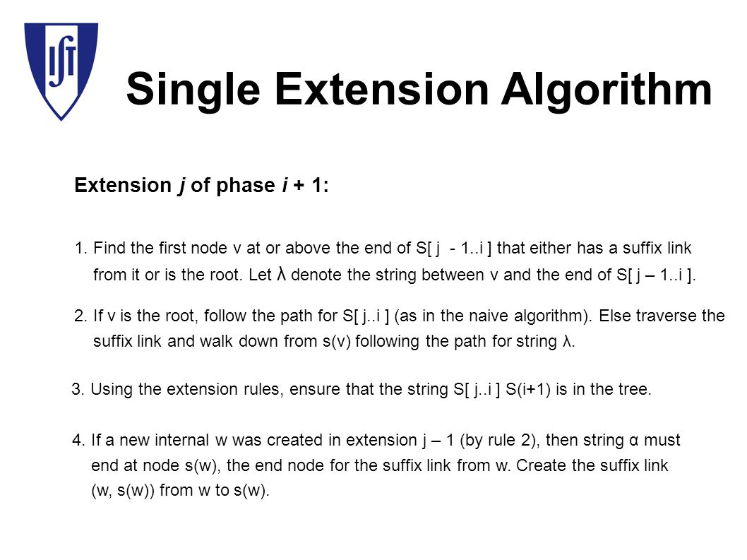 Single Extension Algorithm Extension j of phase i + 1: 1.