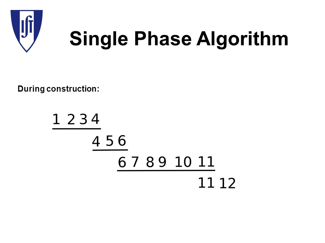 Single Phase Algorithm During construction: