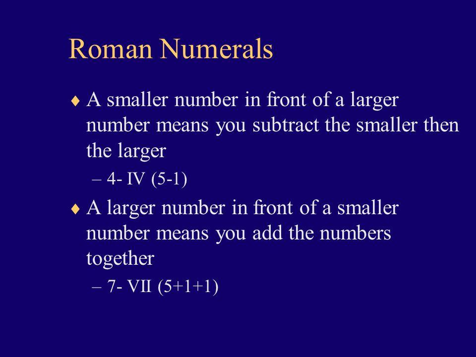Roman Numerals I – 1 V-5 X-10 L- 50 C- 100 D- 500 M-1000