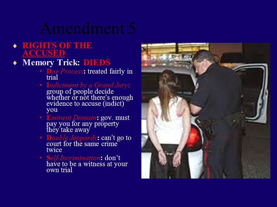 Amendment 4  No Unreasonable Search and Seizure  Memory Trick: Four fingers to knock on the door