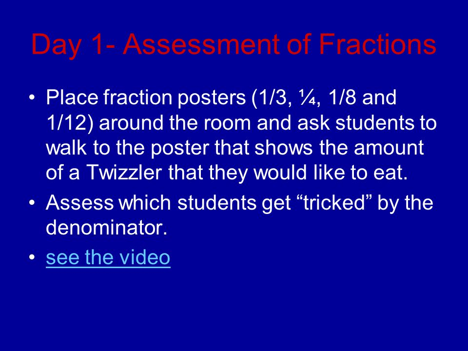 Day 1- Assessment of Fractions Place fraction posters (1/3, ¼, 1/8 and 1/12) around the room and ask students to walk to the poster that shows the amo