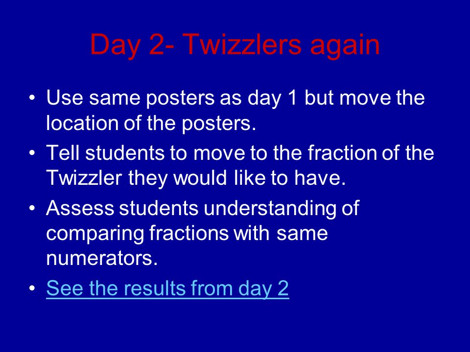 Day 2- Twizzlers again Use same posters as day 1 but move the location of the posters.