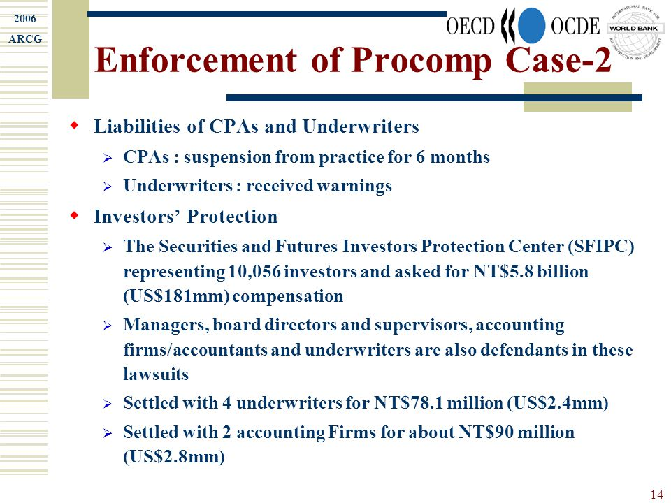 2006 ARCG 14 Enforcement of Procomp Case-2  Liabilities of CPAs and Underwriters  CPAs : suspension from practice for 6 months  Underwriters : rece