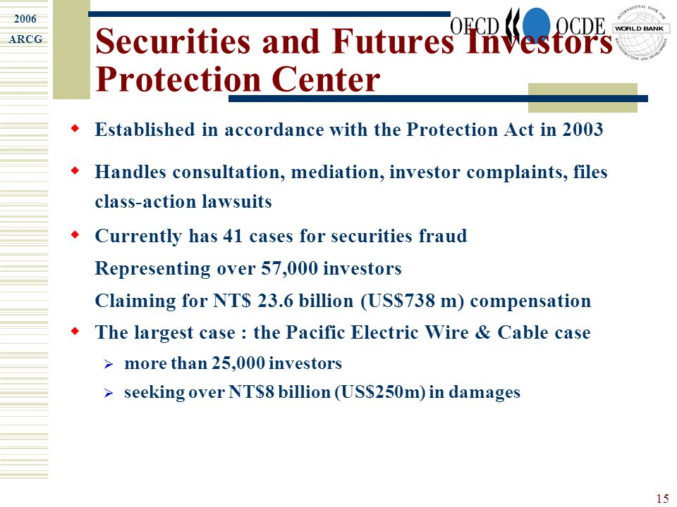 2006 ARCG 15 Securities and Futures Investors Protection Center  Established in accordance with the Protection Act in 2003  Handles consultation, me