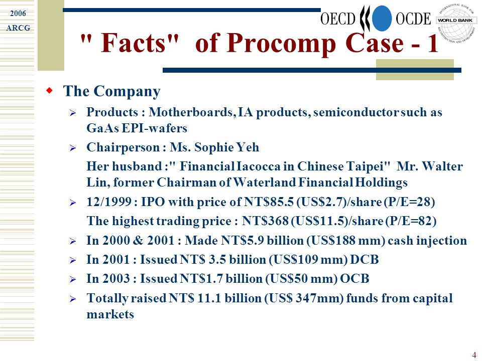 2006 ARCG 4 Facts of Procomp Case - 1  The Company  Products : Motherboards, IA products, semiconductor such as GaAs EPI-wafers  Chairperson : Ms.