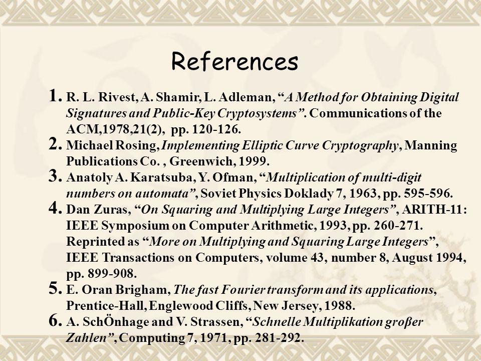 References 1.R. L. Rivest, A. Shamir, L.