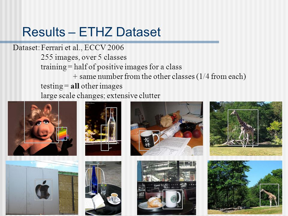 Results – ETHZ Dataset Dataset: Ferrari et al., ECCV 2006 255 images, over 5 classes training = half of positive images for a class + same number from the other classes (1/4 from each) testing = all other images large scale changes; extensive clutter