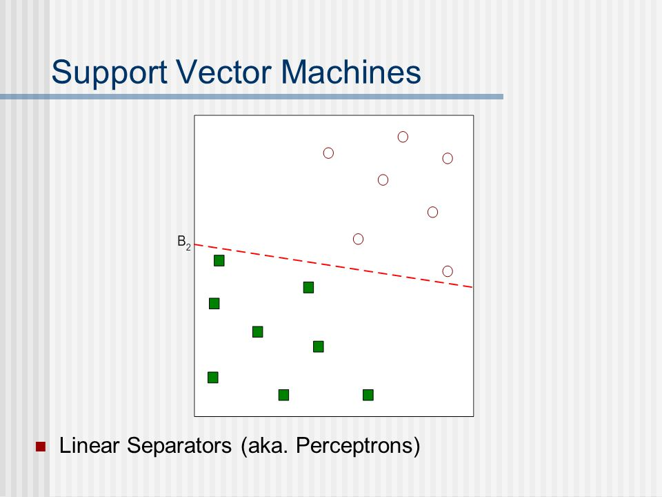 Support Vector Machines Linear Separators (aka. Perceptrons)