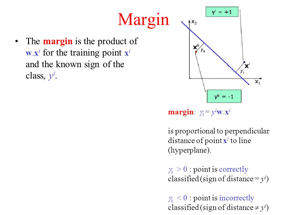 Margin The margin is the product of w.x i for the training point x i and the known sign of the class, y i.