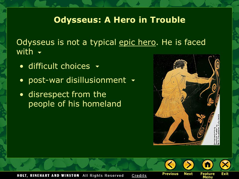 The Iliad provides the background for Odysseus's story and tells the tale of a ten-year war fought outside the walls of Troy. In Homer's Iliad The War