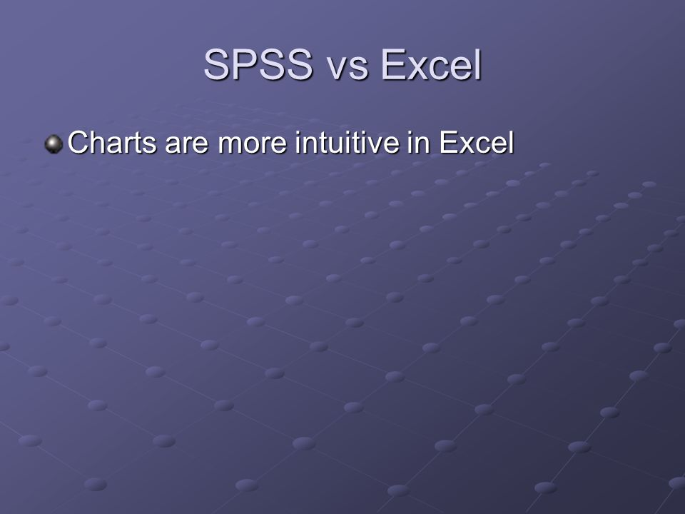 SPSS vs Excel Charts are more intuitive in Excel