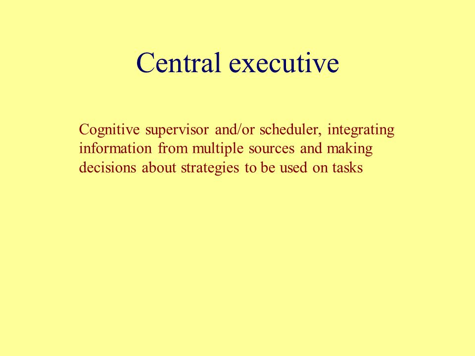 Central executive Cognitive supervisor and/or scheduler, integrating information from multiple sources and making decisions about strategies to be used on tasks