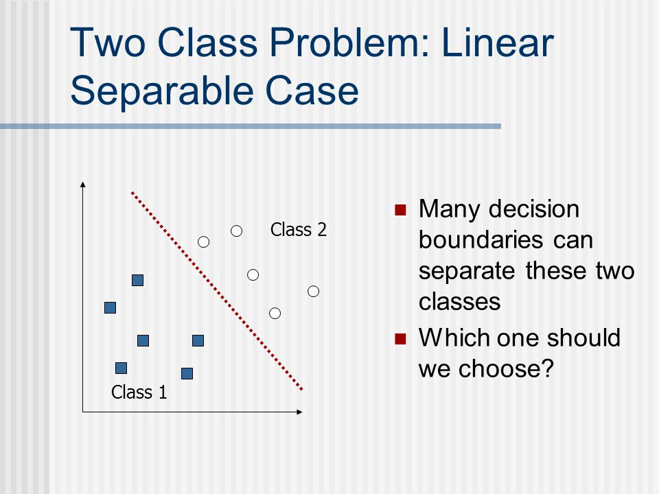 Two Class Problem: Linear Separable Case Class 1 Class 2 Many decision boundaries can separate these two classes Which one should we choose?