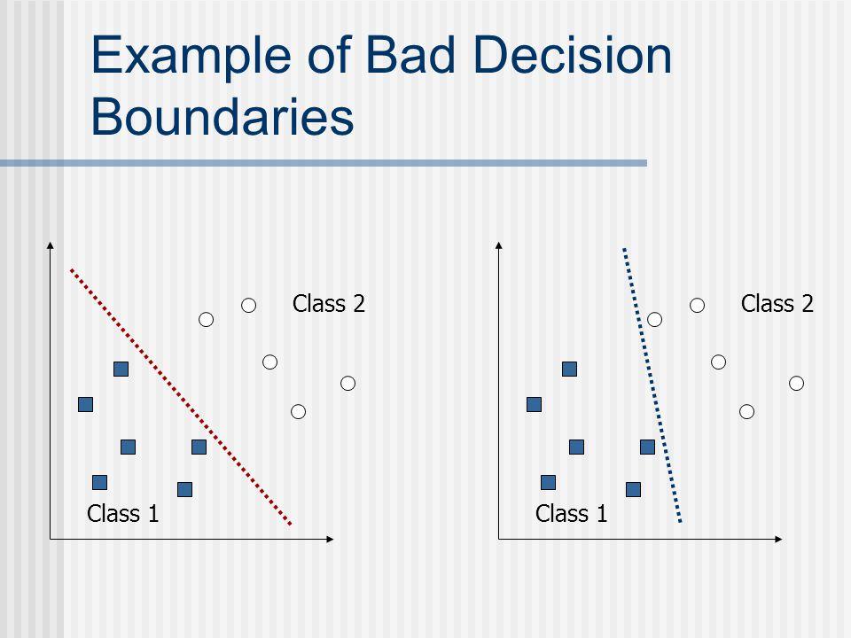 Example of Bad Decision Boundaries Class 1 Class 2 Class 1 Class 2