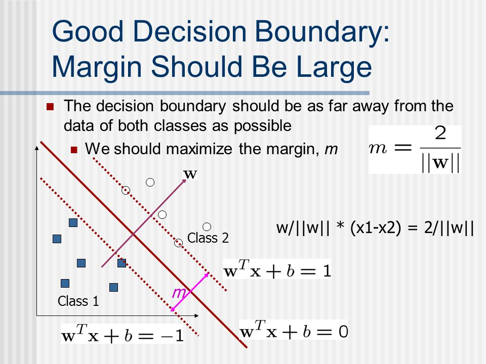 Good Decision Boundary: Margin Should Be Large The decision boundary should be as far away from the data of both classes as possible We should maximiz