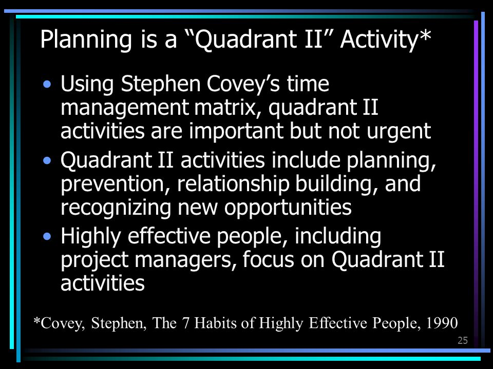 25 Planning is a Quadrant II Activity* Using Stephen Covey's time management matrix, quadrant II activities are important but not urgent Quadrant II activities include planning, prevention, relationship building, and recognizing new opportunities Highly effective people, including project managers, focus on Quadrant II activities *Covey, Stephen, The 7 Habits of Highly Effective People, 1990
