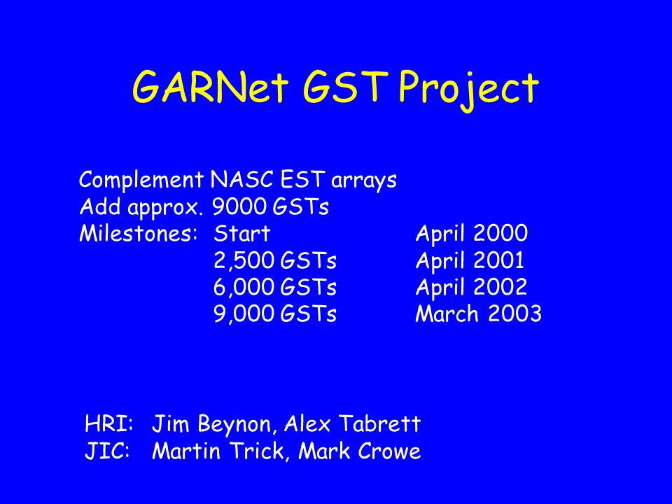 GARNet GST Project Complement NASC EST arrays Add approx.