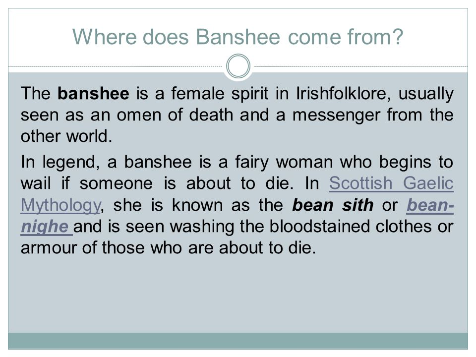 Where does Banshee come from.