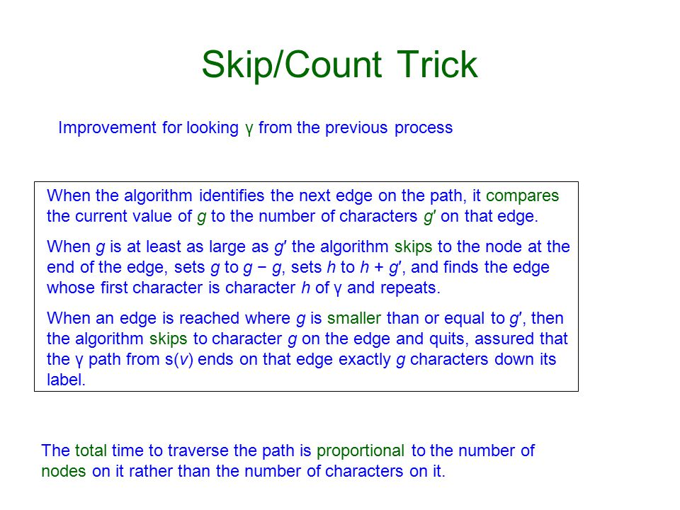 Skip/Count Trick When the algorithm identifies the next edge on the path, it compares the current value of g to the number of characters g′ on that edge.