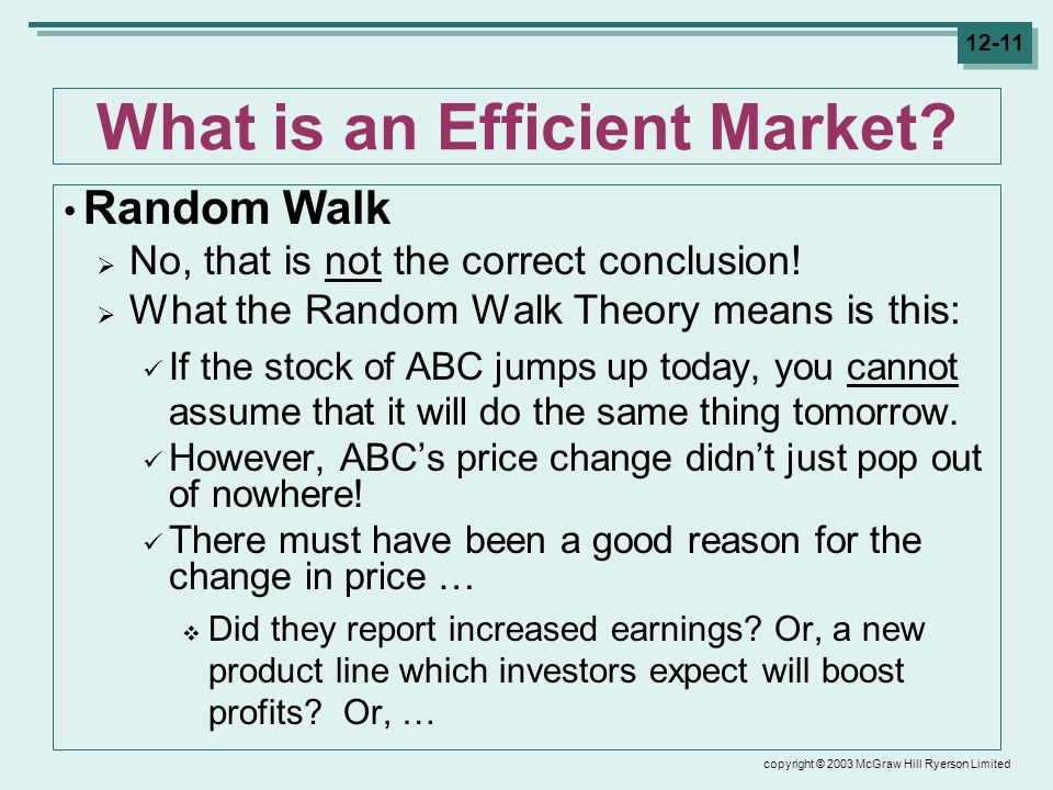 copyright © 2003 McGraw Hill Ryerson Limited 12-11 What is an Efficient Market.