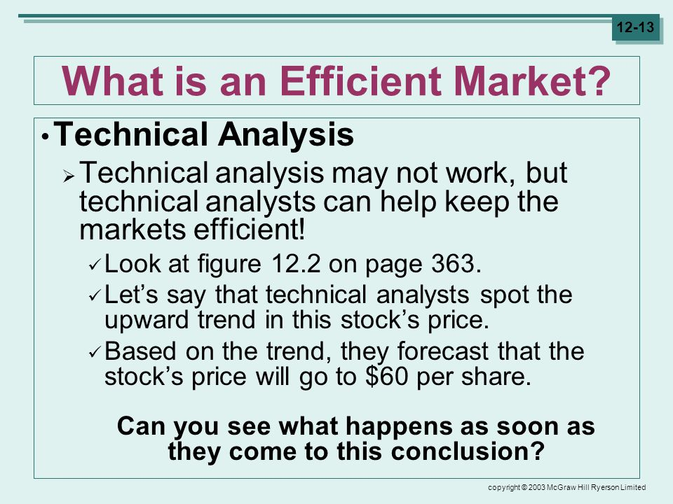 copyright © 2003 McGraw Hill Ryerson Limited 12-13 What is an Efficient Market.