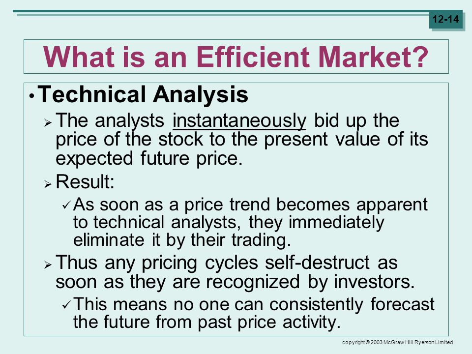 copyright © 2003 McGraw Hill Ryerson Limited 12-14 What is an Efficient Market.