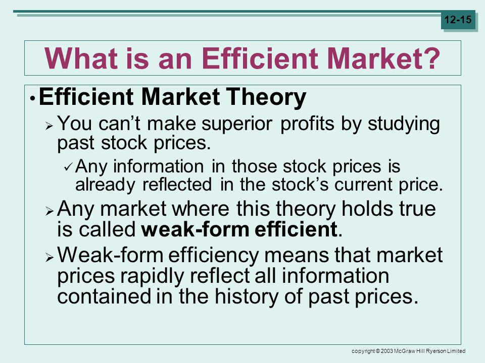 copyright © 2003 McGraw Hill Ryerson Limited 12-15 What is an Efficient Market.