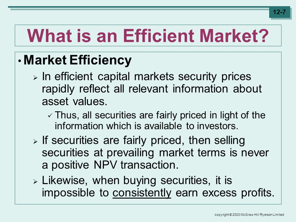 copyright © 2003 McGraw Hill Ryerson Limited 12-7 What is an Efficient Market.