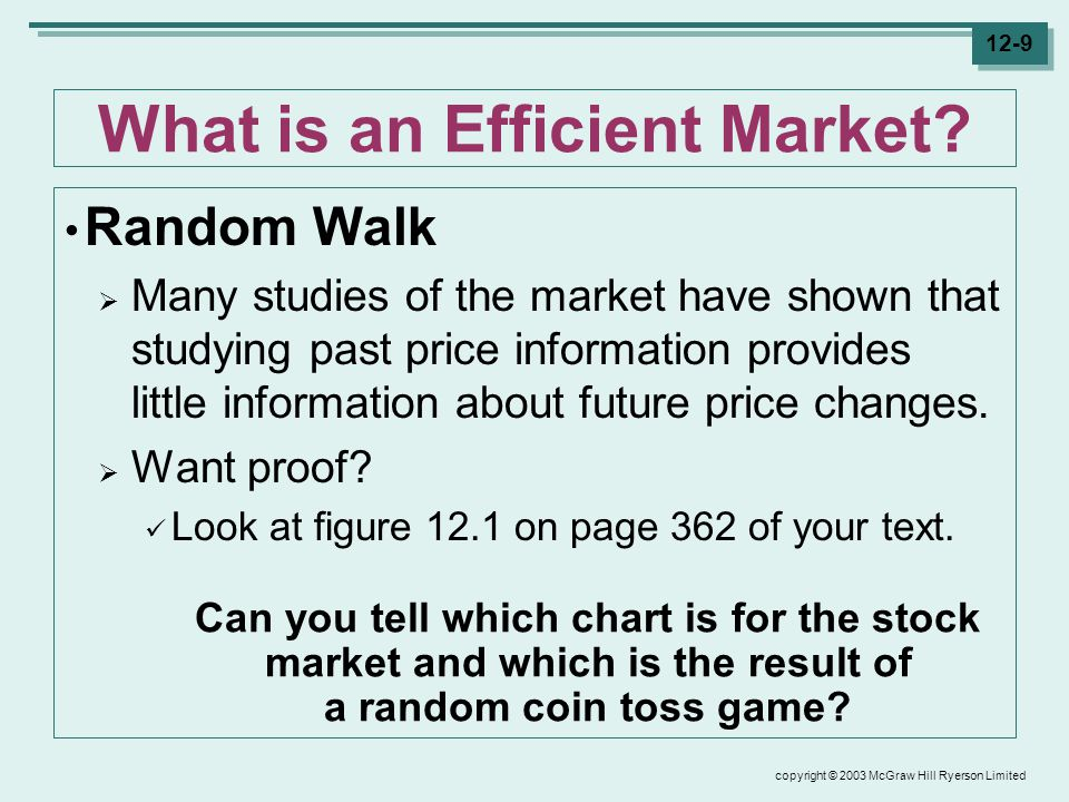 copyright © 2003 McGraw Hill Ryerson Limited 12-9 What is an Efficient Market.