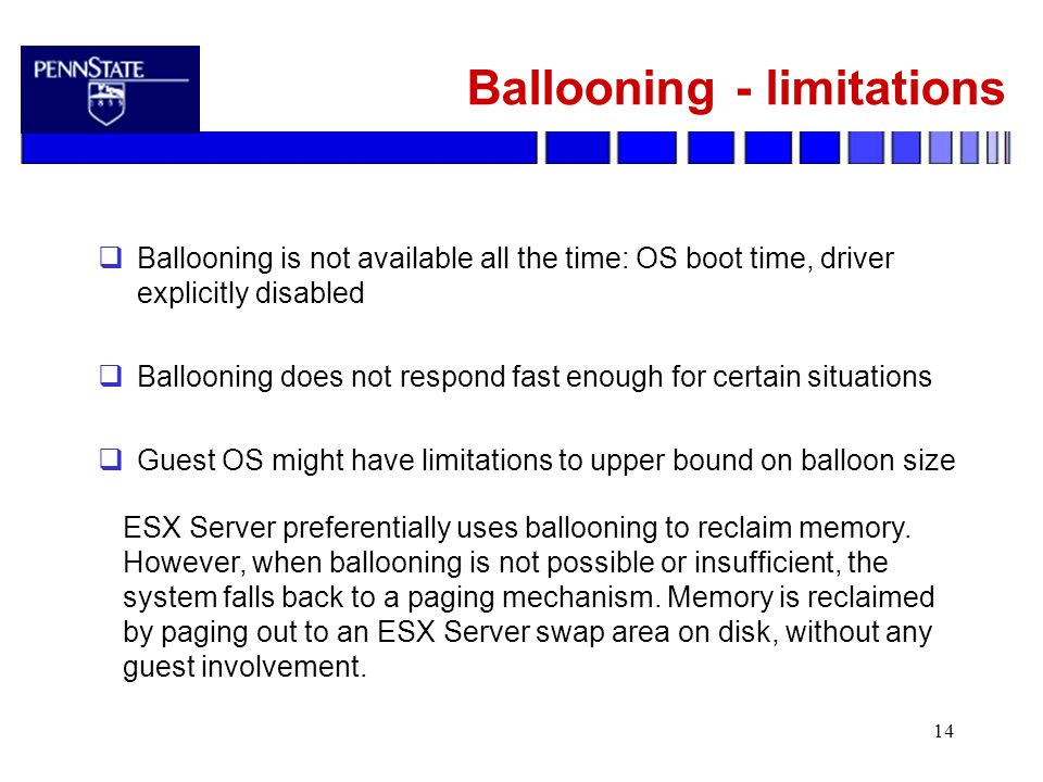 14 Ballooning - limitations  Ballooning is not available all the time: OS boot time, driver explicitly disabled  Ballooning does not respond fast enough for certain situations  Guest OS might have limitations to upper bound on balloon size ESX Server preferentially uses ballooning to reclaim memory.