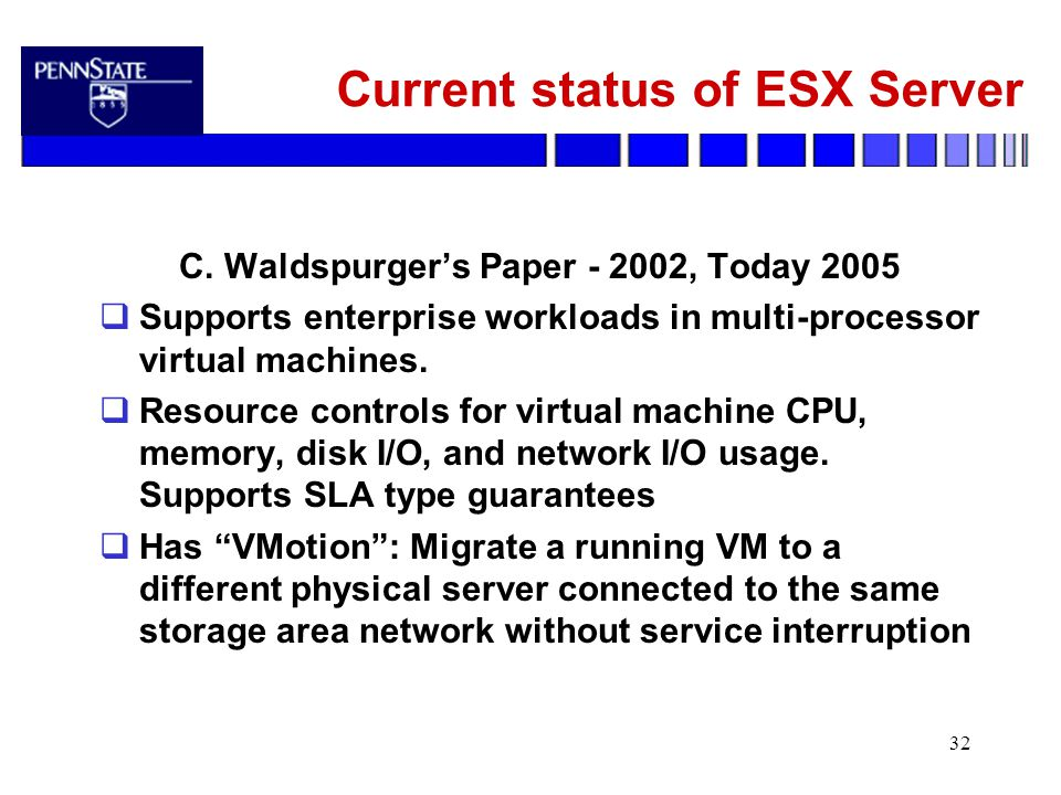 32 Current status of ESX Server C.