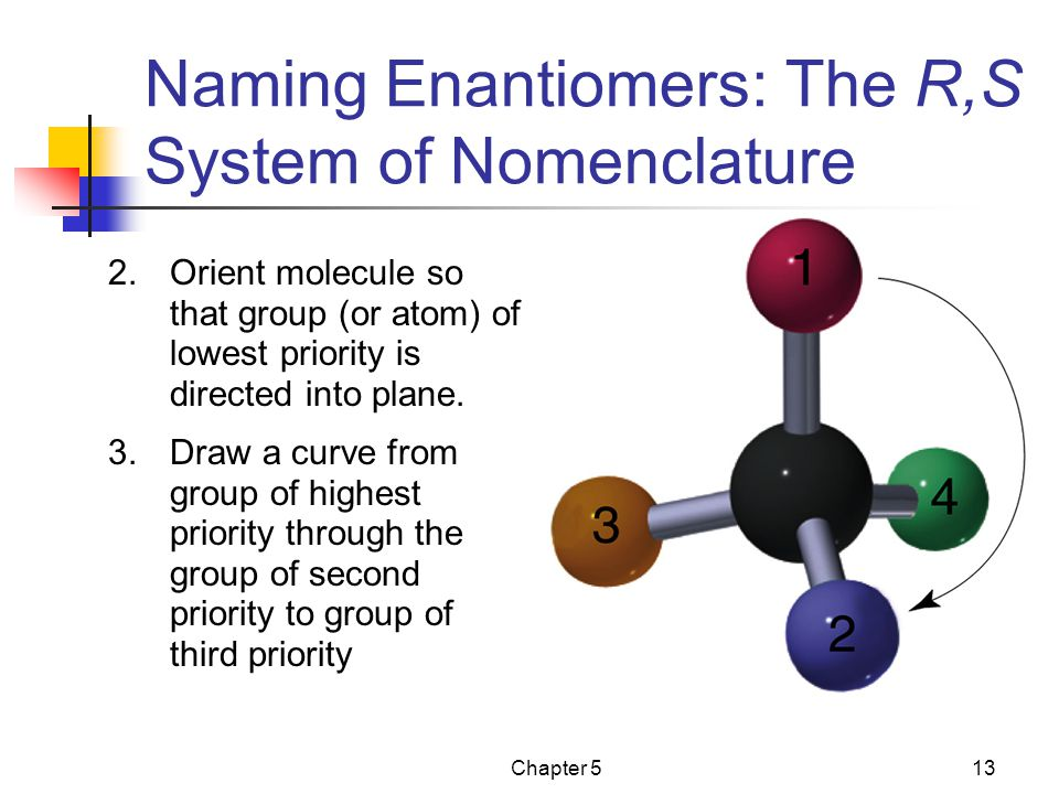 Chapter 513 2.Orient molecule so that group (or atom) of lowest priority is directed into plane.